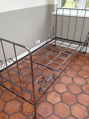 French Metal Bed, Antique Original, + Custom Made New Mattress. Excellent Cond.
