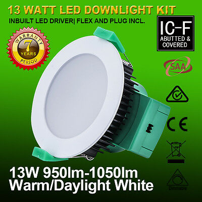 5 Year Warranty 13W Samsung Led Downlight Kit Warm Cool White Day Frame Satin