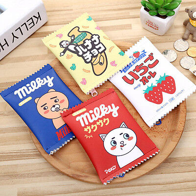 Candy Snacks Coin Purse PU Leather Zipper Change Mini Money Bag for Children