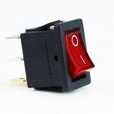 3 Pin Rectangle Rocker Latching ON/OFF Boat Switch w/ Red Light Head t