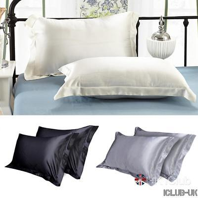2pcs Pillow Cases Luxury Case Silk Satin Housewife Bedroom Pillow Cover Plain