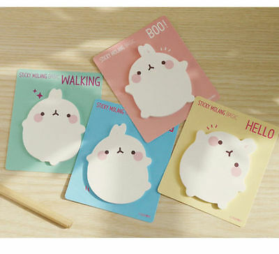 Molang Sticky Note 4 Lot Post-it Memo Pad Bookmark Index Gift Point Cute Kawaii