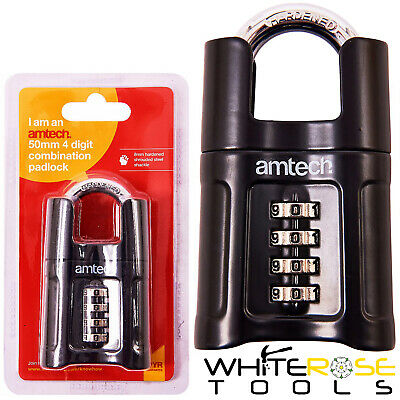 Amtech 50mm 4 Digit Combination Padlock Hardened Shackle Security Gate Shed