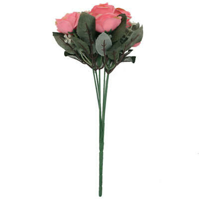 12 Heads Decoration Fake Rose Flowers Artificial Home Simulation Garden