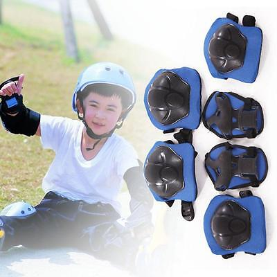 Kid 6pcs Roller Skating Scooter Cycling Knee Elbow Wrist Protective Pads Blue IA