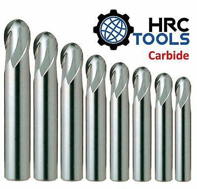HRC R0.5mm - R12.5mm Solid Carbide Ball Nose Mill 2 Flutes Aluminium 45HRC End