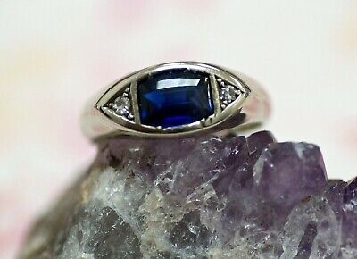 Art deco 18K white gold ring with lab created sapphire,diamonds,signed, size 7,5
