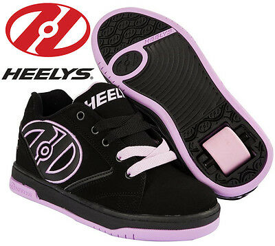 Heelys Propel 2.0 Kids Trainers Lilac Pink Black Girls Roller Skate Shoes