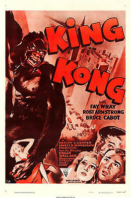 "Movie Poster King Kong 1933 (1952) 27""x41"" VF 8.0 Fay Wray"