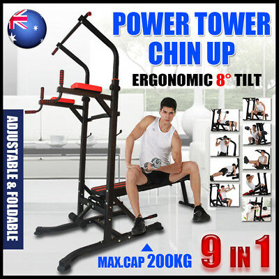 9 in 1 Foldable Power Tower Station Weight Bench Chin Up Knee Raise Exercise Gym