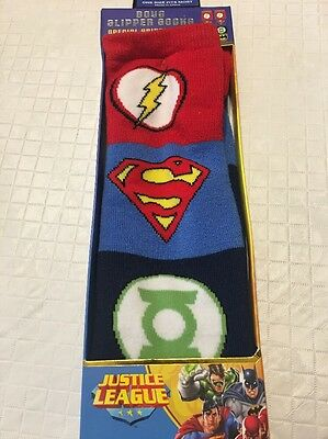 Kids D.C. Comics Justice League Childrens Slipper Socks Unisex Red Black Gripper