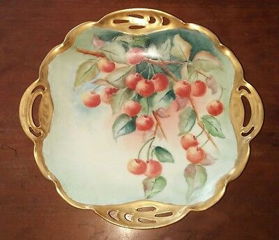 Antique Bavarian Hand Painted Bowl Cherries Gold Trim Signed