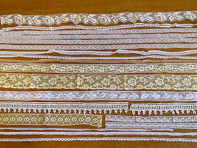 Antique Vintage Lace Trims LOT 12 YARDS White Cream Tan Edgings sewing crafts