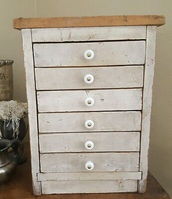 FRENCHY CHIC! Antique Folk Art Primitive Wood Tool Handmade CABINET Apothecary