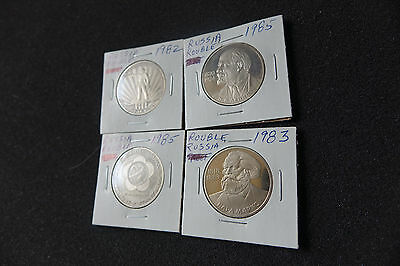 Full Set Of 4 Russian Coins Rubles