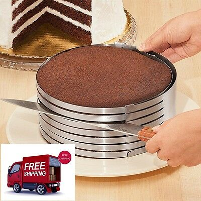 Adjustable Cake Slicer Kit Stainless Steel Mousse Layer Bakerware Cutting Guide