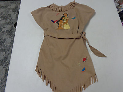 The Disney Store Pocahontas Indian Girl Fringed Dress Halloween Costume  3T  3