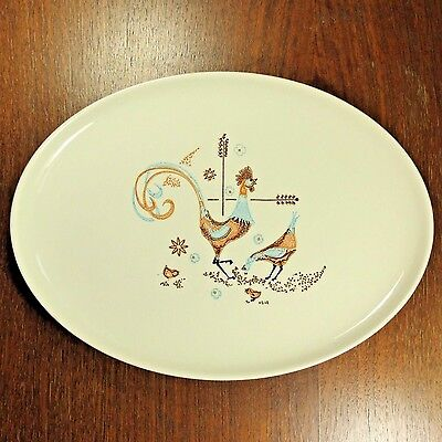 Rooster Chicken Platter Taylor Smith T Colorcraft PEPPERMINT ROO Mid Century VTG