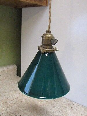 Vintage Emerald Green Cased Pendant Light Shade & Perkins Paddle Switch Fixture