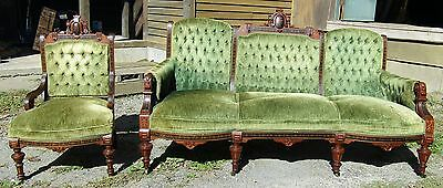 Great Renaissance Revival Inlaid Walnut 2 Pc Parlor Set - Couch & Chair