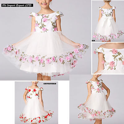 Vestito Bambina Abito Cerimonia Rose Girl Party Roses Princess Dress CDR061