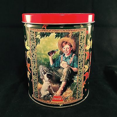 "Vtg 1998 Coca Cola 6"" Round Tin Boy With Dog - No Puzzle"