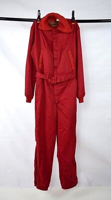 Vtg 70s Retro WALLS Red Insulated Knit Belted Zip Bib Pants Snow Ski Jumpsuit M