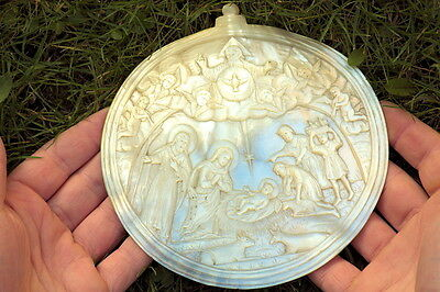 """UNBELIEVABLE 6"""" HUGE ANTIQUE HAND CARVED MOTHER OF PEARL CAMEO NATIVITY c1860"""