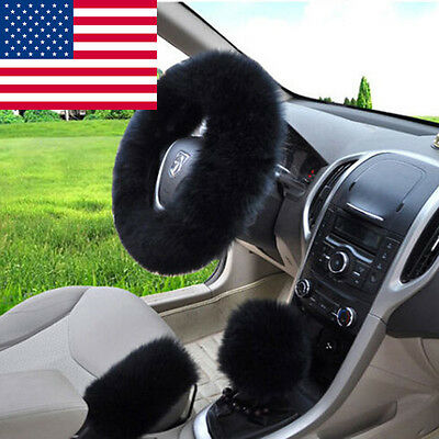 USA Seller Soft Long Wool Handbrake Gear Shift Cover Fuzzy Steering Wheel Cover