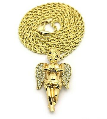 Mini Micro Angel Piece Pendant Rope Link Chain 14K Gold Plated #3