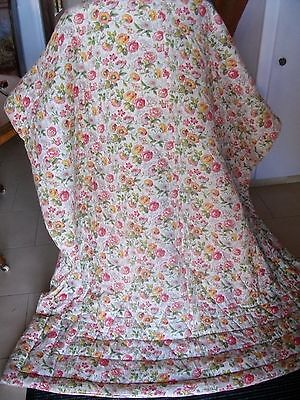 Pretty French Vintage Boudoir Printed Cotton Quilted  Bedcover