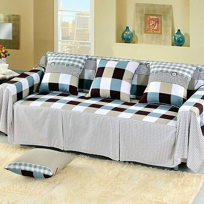 Check Cotton Blend Slipcover Sofa Cover OusL Protector for 1 2 3 4 seater nkqy