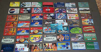 50 Collectible Phone & Gift Cards.  (Cannot be Used) 1996- Early 2000 s.