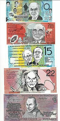 Australia  Political Satire Notes  7 Pcs Some Plastic Some Paper  Unc Lot