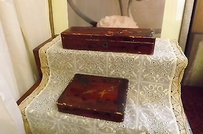 Aged Vintage Japanese Lacquered Glove Box & Trinket Box - Both With Bird Design