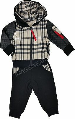 Baby Boys Leatherlook Plaid 2PC Fashion Jogging Hooded Tracksuit Zip Fastening