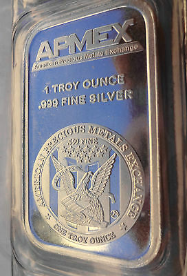 Lot of 2 - 1 Troy ounce APMEX Silver Bars  .999 Fine Silver