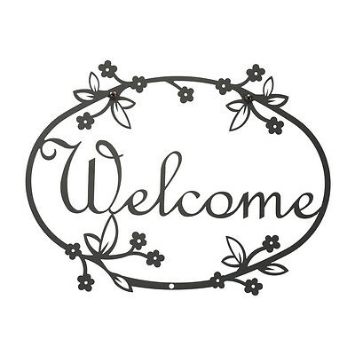 Outdoor/Indoor Village Wrought Iron Medium Welcome Sign Plaque W/Floral Designs