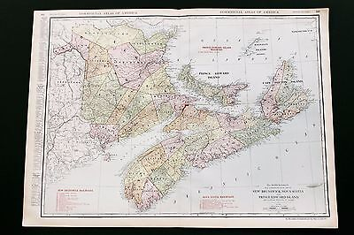 1913 Nova Scotia Railroad Map New Brunswick Routes Commercial Double Page Large