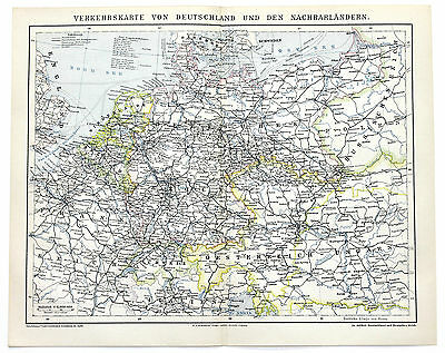 1883 Germany Railroad Map Deutschland Original Brockhaus Color Shipping routes
