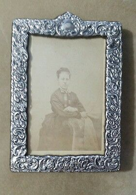 Antique Sterling Silver Repousse Picture Frame 3x5 CDV Photograph