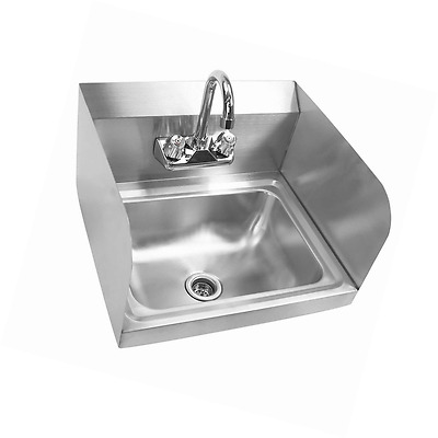 Gridmann Commercial NSF Stainless Steel Sink with Faucet & Sidesplashes - Wall M