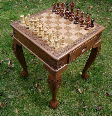 Large Hand Carved Chess Table With Figures - Carved From Solid Walnut Wood
