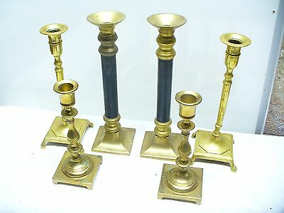 Vintage Brass Candlesticks Candle Holders, lot of 6, square base