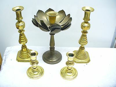 Vintage Brass Candlesticks Candle Holders, lot of 5, Honeycomb & lotus blossom