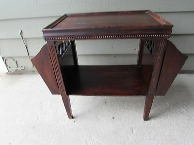 Antique Shabby Chic Wood Magazine Side Table With Nice Design Features