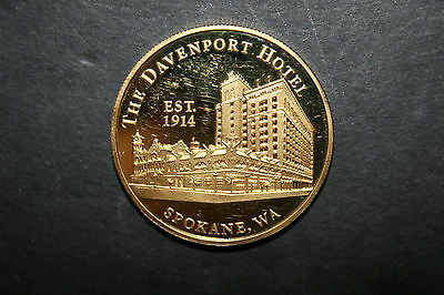 The Davenport Hotel Collectable .999 Silver Coin Gold Covered Spokane WA
