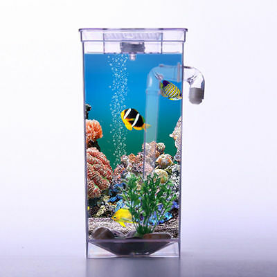 Self Cleaning Aquarium Mini Fun FISH TANK Complete Kit + Led Light Gravity Clean