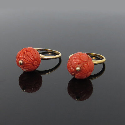 Pair of Vintage 12.5mm Hand Carved Natural Coral 14K Yellow Gold Floral Rings