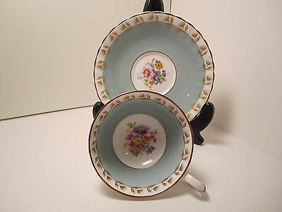 Susie Cooper Eng Bone China Tea Cup & Saucer Blue White Flowers Gold Accents !!